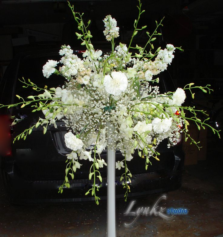Reception Guest Table Arrangement From White Dendrobium Orchids Stock Carnations And Baby S