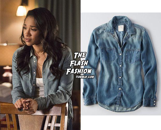 "Who: Candice Patton as Iris West What: American Eagle Western Denim Shirt in Medium Wash - $60.39 Where: The Flash 2x15 ""King Shark"""