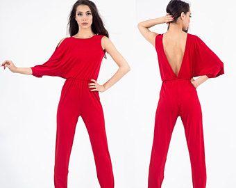 Jumpsuit red, Jumpsuit xs, Jumpsuit dress, Jumpsuit formal, Jumpsuit women, Jumpsuit large, Backless Jumpsuit, Red Catsuit, Black Jumpsuit