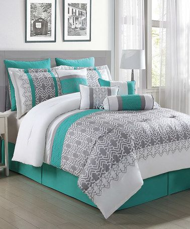 Look what I found on #zulily! Gray, White & Teal Luna 10-Piece Comforter Set by S.L. Home Fashions #zulilyfinds