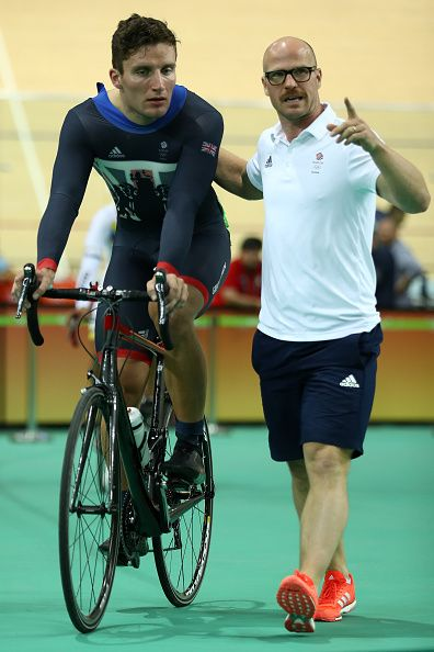 Callum Skinner of Great Britain talks with Jan van Eijden on Day 7 of the Rio…