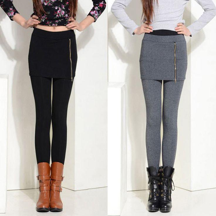 Новые новый женский юбка леггинсы мода растянуть ложные 2 шт. леггинсы карандаш брюки свободного покроя одежда женщин молния леггинсы купить на AliExpress
