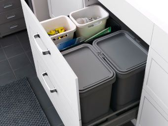 Add Pull Out Bin With Glides Under Sink For Trash.