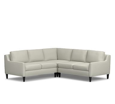Beverly Upholstered Right Arm 3-Piece Corner Sectional, Polyester Wrapped Cushions, Washed Linen/Cotton Eucalyptus