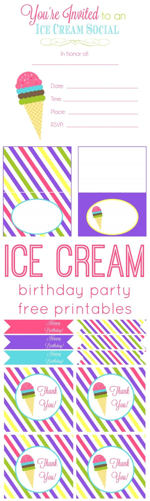 Ice Cream Birthday Party Free Printables + Party Ideas