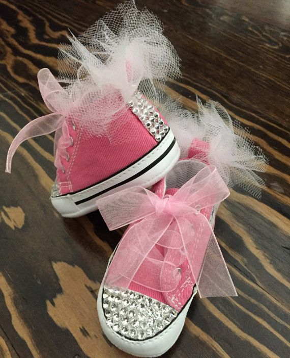 Pink bling Converse soft bottom by GirlieBlingByJess on Etsy $48