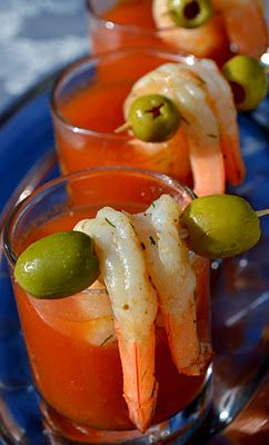 Oh. My. Goodness. I think I just found the best drink ever - bloody mary with shrimp