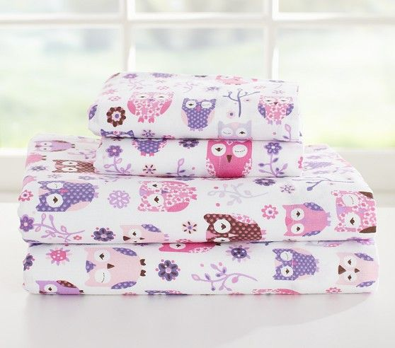 Sleepy Owl Flannel Sheet Set Pottery Barn Kids Girls