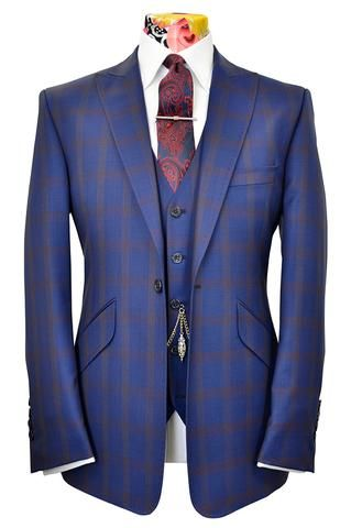 The Ashmore Cobalt Blue Suit with Cinnamon Windowpane Check