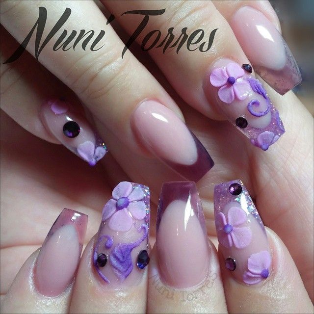 Instagram photo of acrylic nails by nunis_nails