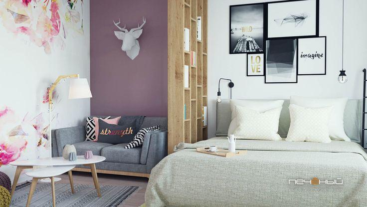 """Дизайн интерьера спальни в однокомнатной квартире.  Скандинавский стиль. Белый, серый, бежевый, салатовый, розовый. Студия дизайна """"Печёный""""."""