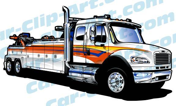 Freightliner Heavy Duty Tow Truck Vector Art Freightliner Heavy