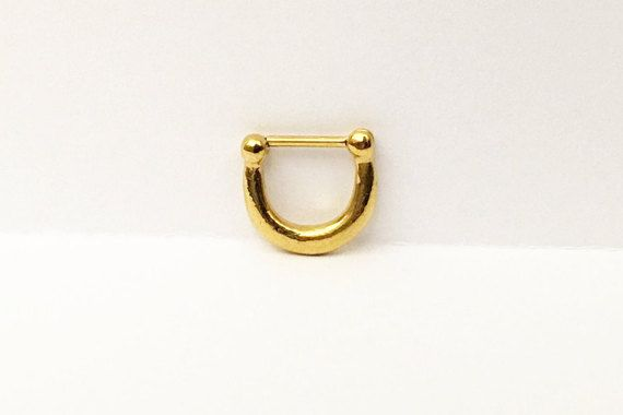 Gold Plain Septum Clicker Nose Piercing (NPC-11), 316L Surgical Steel, Nose Ring, Septum Ring, Septum Piercing, Gold Septum Ring