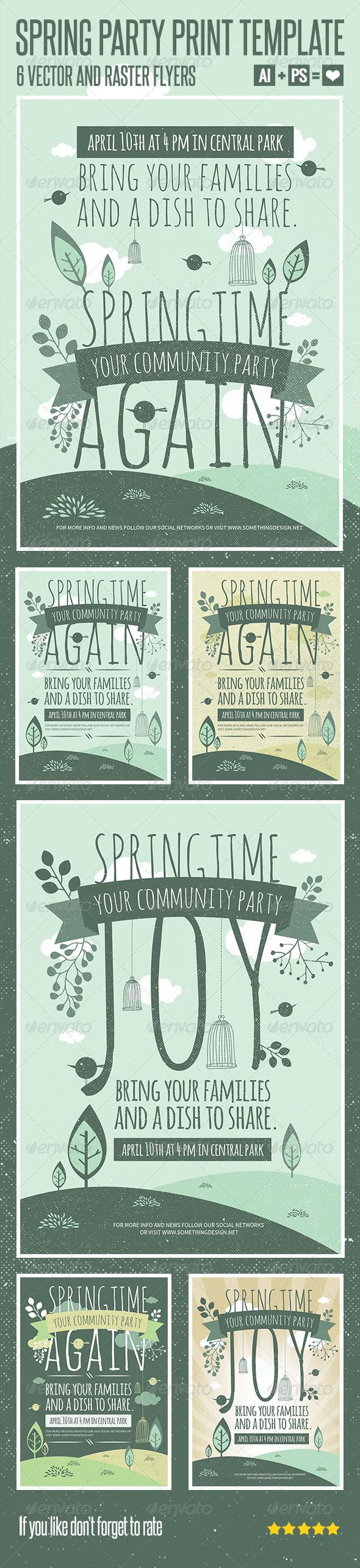 invitation wording for networking event%0A Spring Party Print Template  Poster Adobe Illustrator file CS   in this  files all elements are