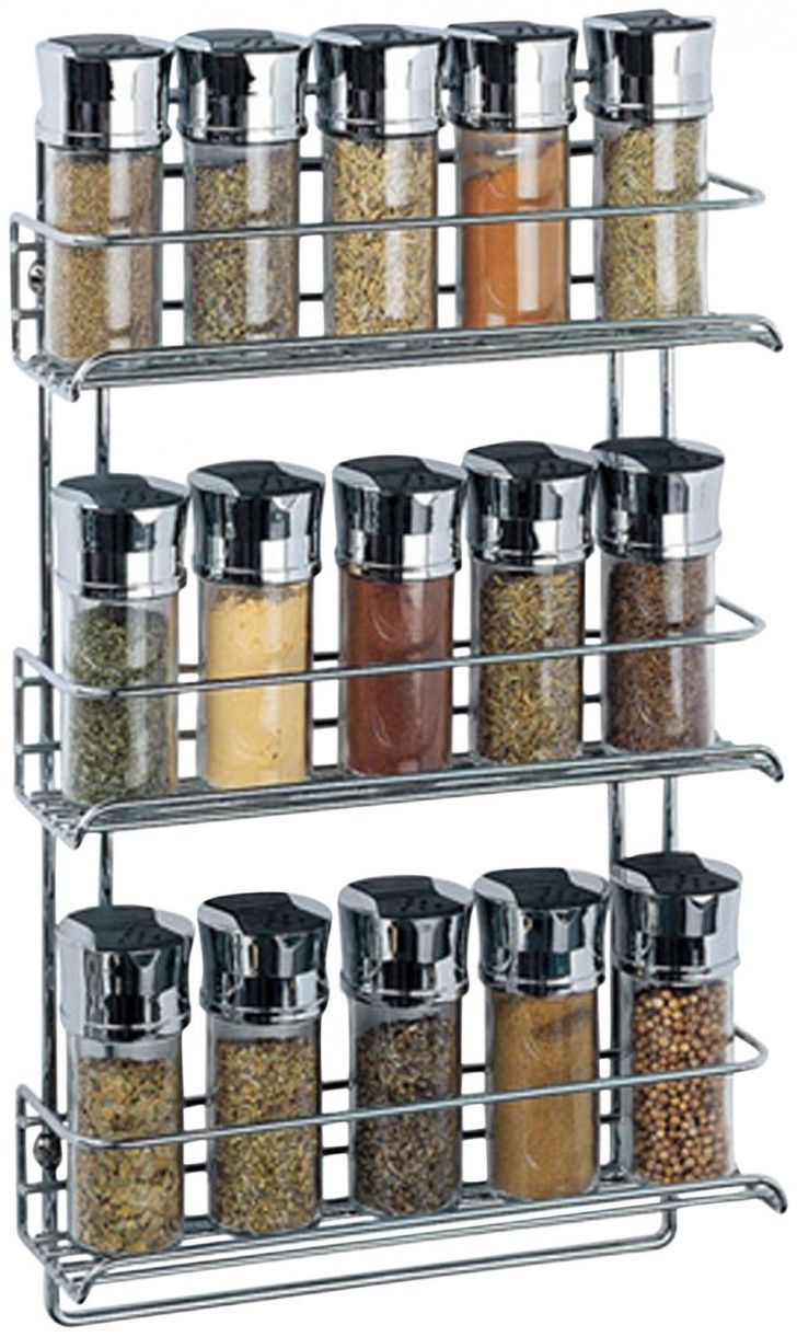 Modern Wire Stainless Wall Mounted Spice Rack With Three Levels Space To Save The Spice And Have Fifteen Spiace Jar For Wall Hanging Kitchen Accessories Decorating Ideas The Best Of The 36 Wall Hanging Spice Rack Accessories Decorating Ideas Furniture