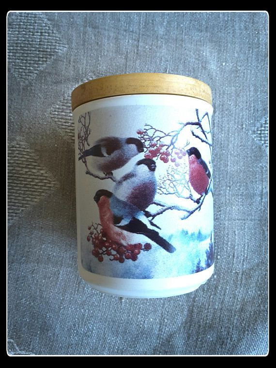 Vintage Finnish Kermansavi bullfinches birds pottery jar