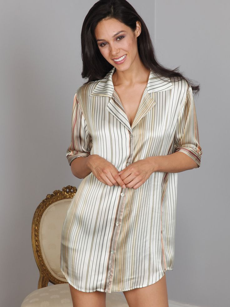 """Zena - Luxury Nightwear - Schweitzer Linen Stripes in Black, Tan, Beige, and Copper are eye catching on this perfectly tailored, cozy off-white #nightshirt. """"Zena"""" boasts a roomy collar, five-button closure, and cuffed sleeves. Made from 100% silk charmeuse."""