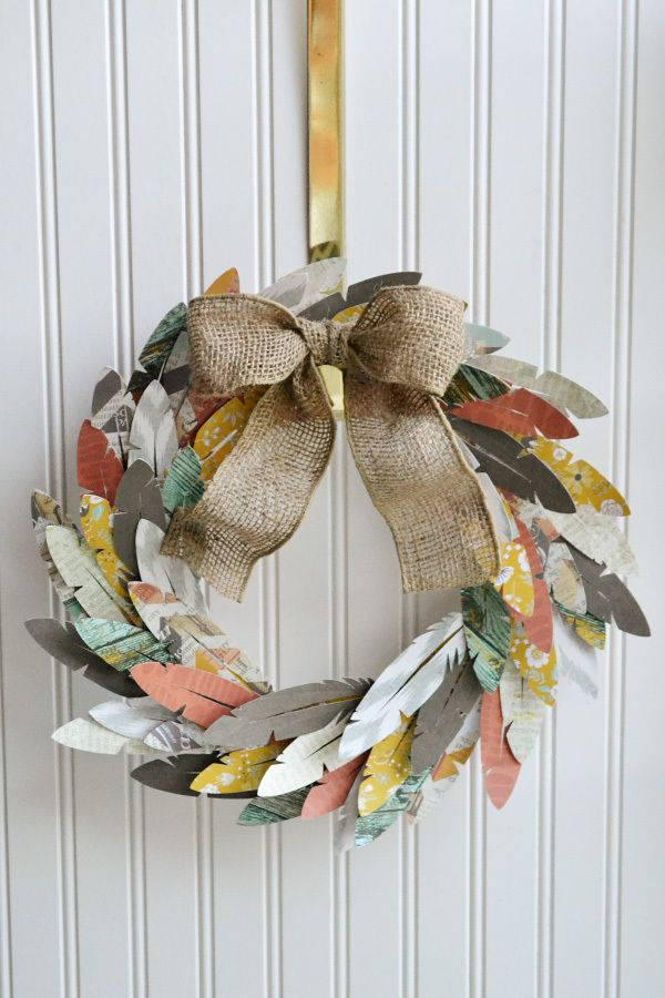 Paper Feather Wreath