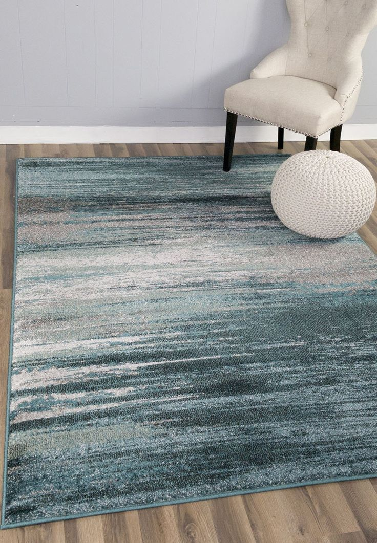 Teal U0026 Gray Stripes Traditional Distressed 10 X 13 [ X ] Area Rug Modern  Vintage Transitional Rug Soft Living Dining Room Contemporary Area Rug
