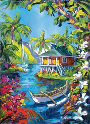 Steve Barton art - lazy lagoon painting size 18x24  Framed Yellow Bamboo New $1200 + Shipping  sobiitviplounge@gmail.com