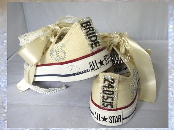 Wedding cream converse / Name and date converse / by CindersWish