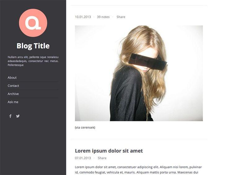 Oka Theme - Free Tumblr Theme http://www.webdesignerhub.com/best-free-tumblr-themes-templates/
