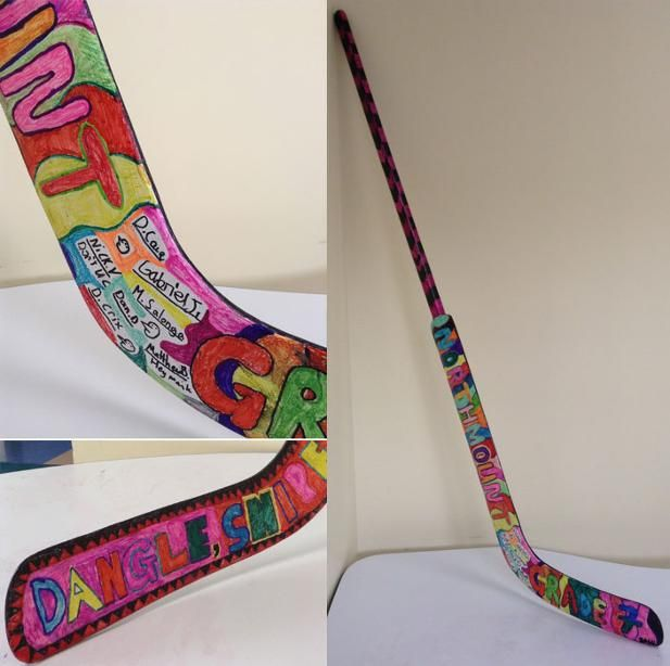 Grade 7 students collaborate on designing this hockey stick to be auctioned at their school's fundraiser