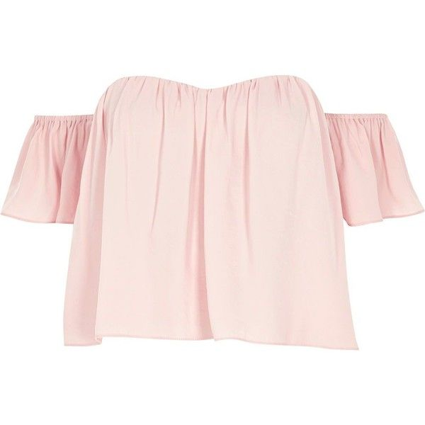 River Island Pink bardot crop top (£40) ❤ liked on Polyvore featuring tops, shirts, bardot / cold shoulder tops, pink, women, off the shoulder tops, short sleeve crop top, flounce tops, tall tops and short sleeve tops
