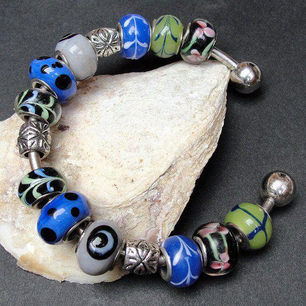 Szafirowa bransoleta modułowa - Maggia-Art - Bransoletki z koralików