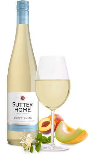 Sutter Home's Sweet White Wine - 5 servings per 750ml container, 108 Calories per serving, sweet (cheap white wine)