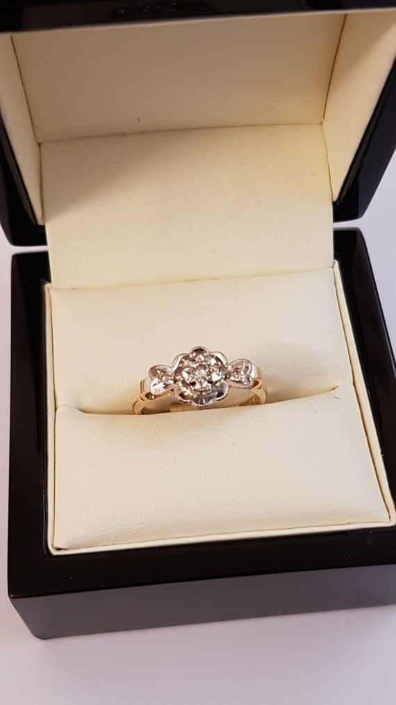 18ct Yellow Gold Diamond Ring Size M by HerefordGold on Etsy