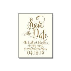 Calligraphy save the date, Gold and off-white wedding save the date, rustic wedding, letterpress invitation, vintage, whimsical