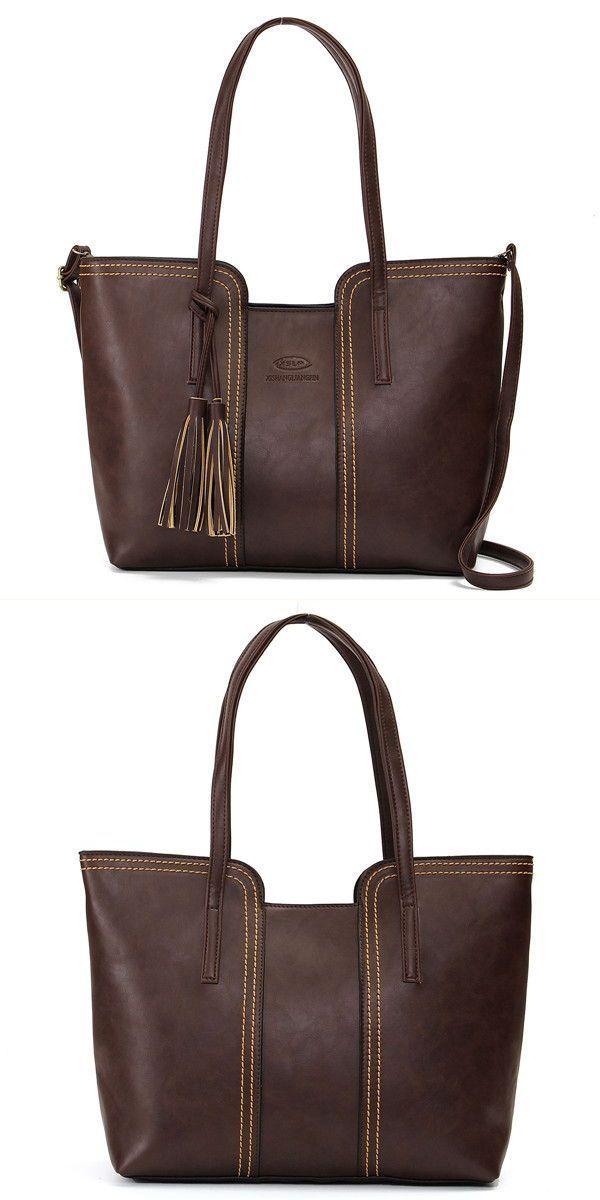 49d916172a7 Women retro tassel tote bags ladies casual shoulder bags crossbody ...