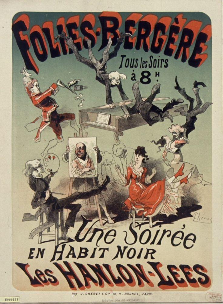 1875, Jules Chéret, Une soirée en habit noir. Les Hanlon-Lees,  Folies-Bergère, Paris (Bibliothèque nationale de France) [Jules Cheret, Folies Bergere, Жюль Шере, Фоли-Бержер]