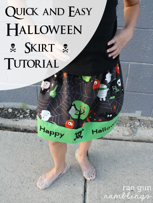 Halloween Skirt Tutorial great for beginners and how to use Iron-on Vinyl - Rae Gun Ramblings