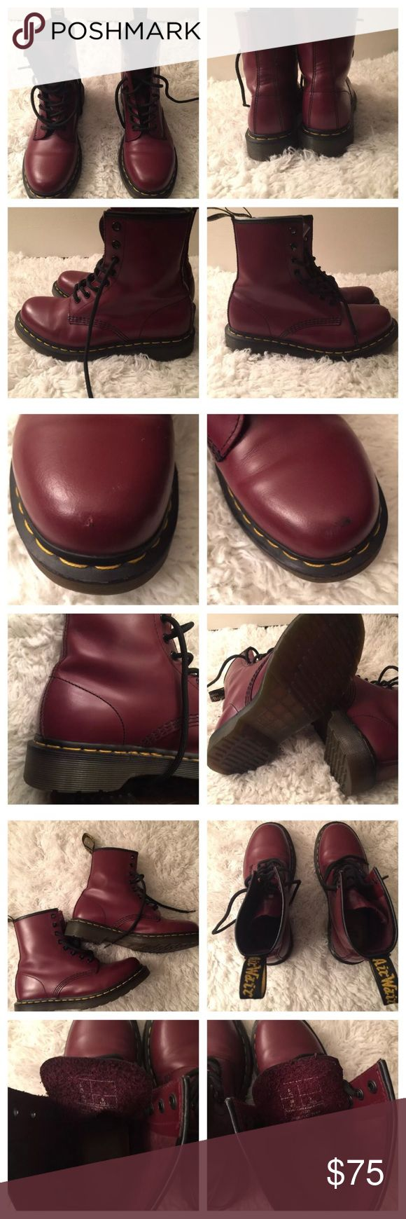 """Dr Martens lace up boot burgundy size 8 Used as a display shoe for Nordstrom department store so there was light sampling. They are in good condition. Pictures show scuff on left shoe and minimal scuffing on inner sides of shoe also show a small nic of the leather at the toe of the right shoe. These are a size 8 and true to size. Sizing: True to size.  - Round toe - Leather construction - Lace-up vamp - Back pull tab - Stitched welt - Approx. 6"""" shaft height - Approx. 1.25"""" heel, 0.5""""…"""