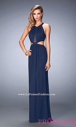 Long Prom Dress with Side Cut Outs by La Femme at PromGirl.com