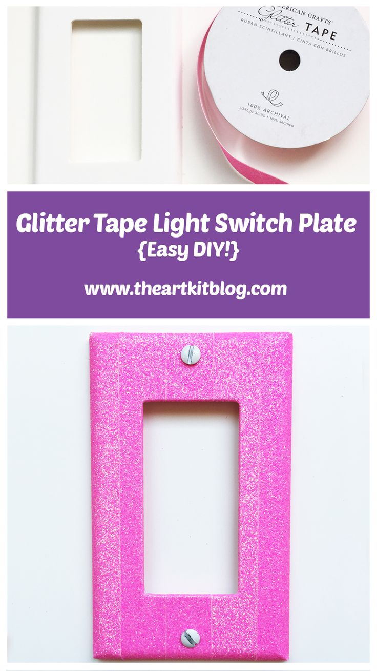 Pin for later, visit the blog today! Glitter tape light switch plate