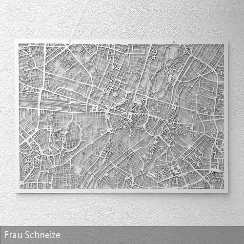 Der Stadtplan von München aus 3mm dickem Holzwerkstoff geschnitten. Detailgetreu, maßstabsgerecht und besonders filigran gearbeitet. Die Stärke des weißen…