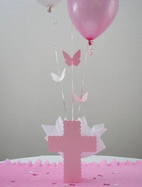 Butterfly Baptism Theme - Cross Balloon Centerpiece & Personalized Table Decorations - Choice of Colors - $18.00 NEW!