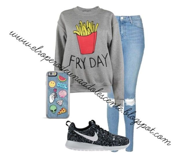 """Fryday"" by desi2003 on Polyvore featuring moda, Topshop, NIKE y Adolescent Clothing"