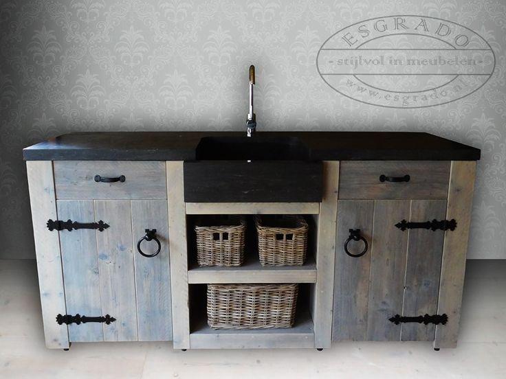 Wasbak Keuken Afmetingen : stoer landelijk keukenblok met hardsteen wasbak. Dit steigerhouten