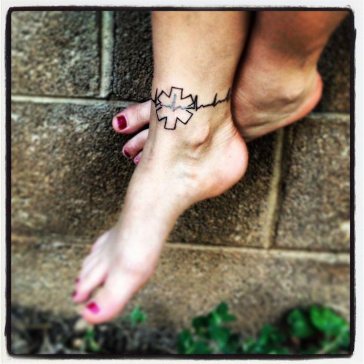 EKG EMT ankle tattoo