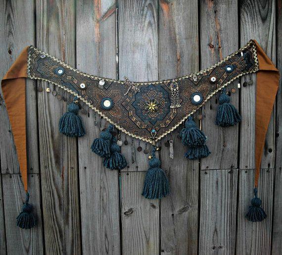 Tribal Belly Dance Belt Tassel Belt Tribal Fusion Evil Eye Shisha Moons