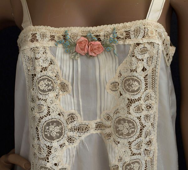 1920s Clothing at Vintage Textile:  flapper silk lingerie beautiful Teddy bodice