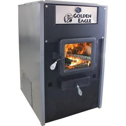 "GE7000 Golden Eagle 24"" Log Length Wood Furnace with Large Viewing Window Firebrick Lined Steel Firebox and an Insulated Steel Cabinet"