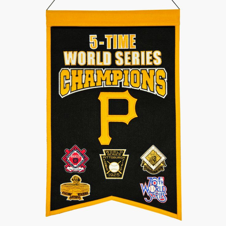 "This 14"" x 22"" beautifully embroidered banner commemorates the Pittsburgh Pirates five World Series Championships. This unique banner design celebrates the team's dynasty."