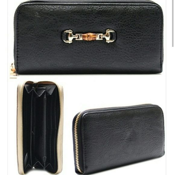 "Posh In Black Chick Multi Pocket Wallet Faux Leather Metal Stud Zip Closure Wallet 4"" X 8"" Boutique Bags Wallets"