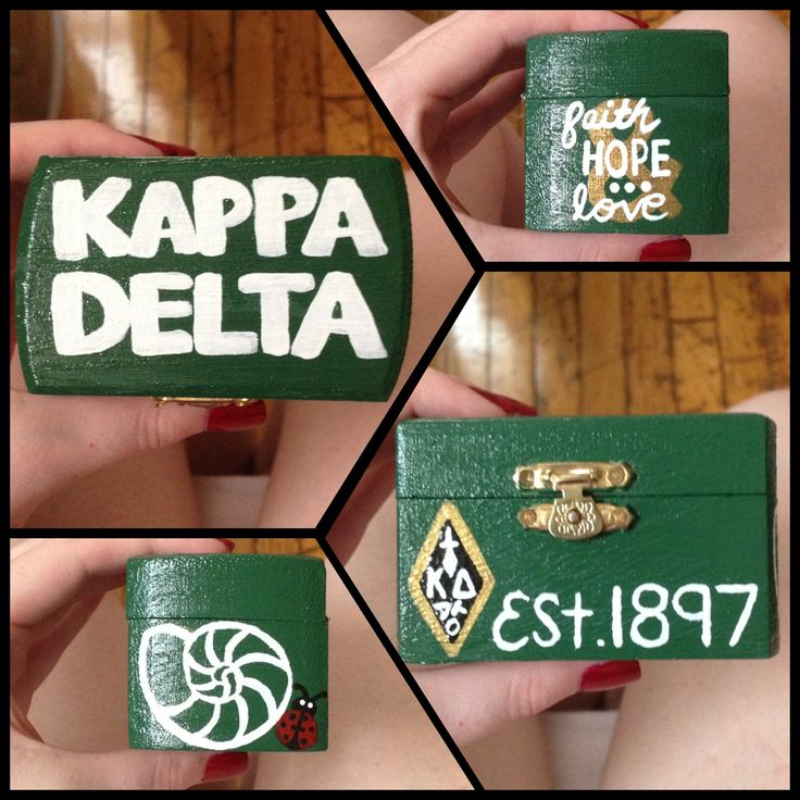 Kappa Delta pin box. Use $1 trinket box from Michaels.