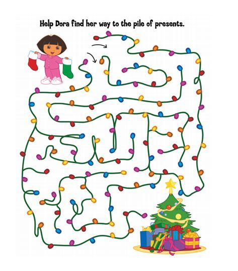 Help Dora through this holiday maze so that she can reach the pile of presents!